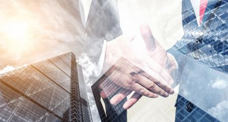 two businessman partnership handshaking process. double exposure skyscraper on the background : Stock Photo or Stock Video Download rcfotostock photos, images and assets rcfotostock | RC-Photo-Stock.: