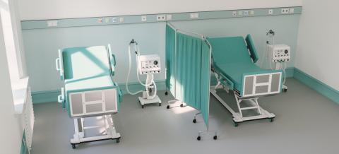 Two intensive care beds in an intensive care unit with ventilators for Covid-19 patients in the case of - Stock Photo or Stock Video of rcfotostock | RC-Photo-Stock