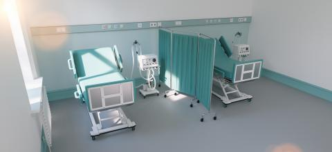 two intensive care beds with ventilators for Covid-19 patients in a double room of a clinic for a coronavirus pandemic- Stock Photo or Stock Video of rcfotostock | RC-Photo-Stock