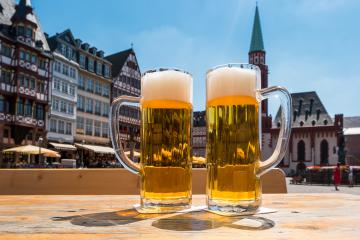 Two mugs of german beer in frankfurt City at summer- Stock Photo or Stock Video of rcfotostock | RC-Photo-Stock