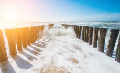 Two parallel rows of weathered wooden breakwaters at the beach- Stock Photo or Stock Video of rcfotostock | RC-Photo-Stock