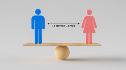 Two people standing wooden scale balancing for social distancing in between. Concept of staying physically apart for infection control intended to stop or slow down the spread of COVID-19 conoravirus- Stock Photo or Stock Video of rcfotostock | RC-Photo-Stock
