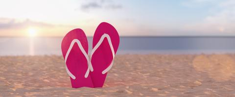 Two purple flip-flop sandals in the beach against sunset sky in summer : Stock Photo or Stock Video Download rcfotostock photos, images and assets rcfotostock | RC-Photo-Stock.: