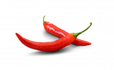 Two red chili peppers - isolated- Stock Photo or Stock Video of rcfotostock | RC-Photo-Stock