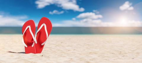 Two red flip-flop sandals on the beach on summer vacation, travel Concept image- Stock Photo or Stock Video of rcfotostock | RC-Photo-Stock