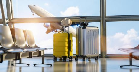Two suitcases in the airport departure lounge, airplane in the blurred background, summer vacation concept, traveler suitcases in airport terminal waiting area : Stock Photo or Stock Video Download rcfotostock photos, images and assets rcfotostock | RC-Photo-Stock.: