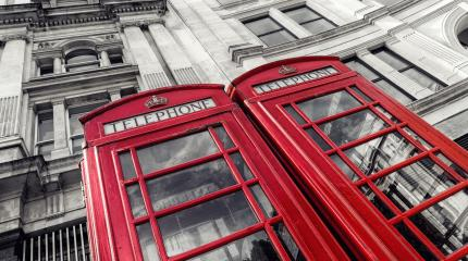 two traditional red telephone booths in London city - Stock Photo or Stock Video of rcfotostock | RC-Photo-Stock
