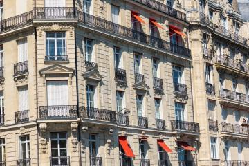 Typical facade of Parisian building in paris at summer- Stock Photo or Stock Video of rcfotostock | RC-Photo-Stock