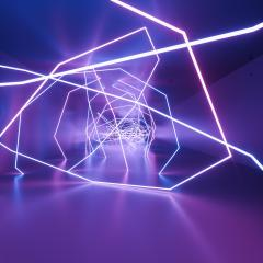ultraviolet neon square lines, glowing lines, tunnel, corridor, virtual reality, abstract fashion background, violet neon lights, arch, pink blue vibrant colors, laser show- Stock Photo or Stock Video of rcfotostock | RC-Photo-Stock