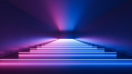 ultraviolet neon square portal, glowing lines, tunnel, corridor, virtual reality, abstract fashion background, violet neon lights, arch, pink blue vibrant colors, laser show- Stock Photo or Stock Video of rcfotostock | RC-Photo-Stock