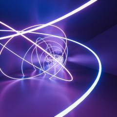 ultraviolet neon square roundet lines, glowing lines, tunnel, corridor, virtual reality, abstract fashion background, violet neon lights, arch, pink blue vibrant colors, laser show- Stock Photo or Stock Video of rcfotostock | RC-Photo-Stock