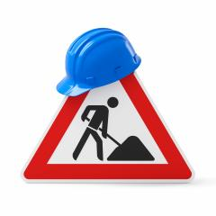 Under construction, road sign and blue safety helmet, isolated on white background. 3D rendering- Stock Photo or Stock Video of rcfotostock | RC-Photo-Stock