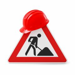 Under construction, road sign and red safety helmet, isolated on white background. 3D rendering- Stock Photo or Stock Video of rcfotostock | RC-Photo-Stock
