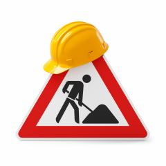 Under construction, road sign and safety helmet, isolated on white background. 3D rendering- Stock Photo or Stock Video of rcfotostock | RC-Photo-Stock