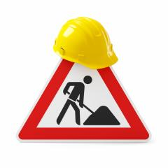 Under construction, road sign and yellow safety helmet, isolated on white background. 3D rendering- Stock Photo or Stock Video of rcfotostock | RC-Photo-Stock