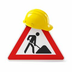 Under construction, road sign and yellow safety helmet, isolated on white background. 3D rendering : Stock Photo or Stock Video Download rcfotostock photos, images and assets rcfotostock | RC-Photo-Stock.: