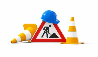 Under construction, road sign, traffic cones and blue safety helmet, isolated on white background. 3D rendering- Stock Photo or Stock Video of rcfotostock | RC-Photo-Stock