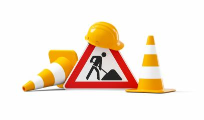 Under construction, road sign, traffic cones and orange safety helmet, isolated on white background. 3D rendering- Stock Photo or Stock Video of rcfotostock | RC-Photo-Stock