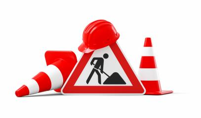 Under construction, road sign, traffic cones and red safety helmet, isolated on white background. 3D rendering : Stock Photo or Stock Video Download rcfotostock photos, images and assets rcfotostock | RC-Photo-Stock.: