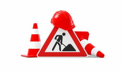 Under construction, road sign, traffic cones and safety helmet, isolated on white background. 3D rendering- Stock Photo or Stock Video of rcfotostock | RC-Photo-Stock
