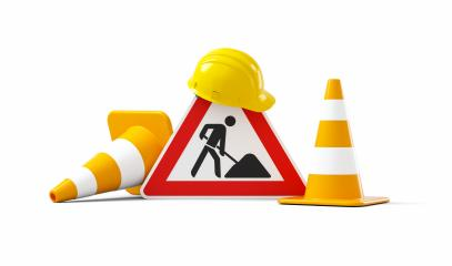 Under construction, road sign, traffic cones and yellow safety helmet, isolated on white background. 3D rendering : Stock Photo or Stock Video Download rcfotostock photos, images and assets rcfotostock | RC-Photo-Stock.: