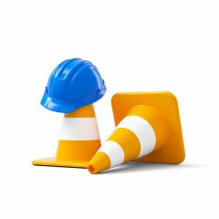 Under construction, traffic cones and blue safety helmet, isolated on white background. 3D rendering- Stock Photo or Stock Video of rcfotostock | RC-Photo-Stock