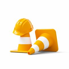 Under construction, traffic cones and safety helmet, isolated on white background. 3D rendering- Stock Photo or Stock Video of rcfotostock | RC-Photo-Stock