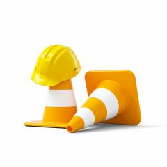 Under construction, traffic cones and yellow safety helmet, isolated on white background. 3D rendering- Stock Photo or Stock Video of rcfotostock | RC-Photo-Stock