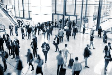 unrecognizable business people rushing in a modern trade fair hall- Stock Photo or Stock Video of rcfotostock   RC-Photo-Stock
