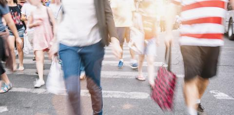 Unrecognizable crowd of people in bokeh walking on a street- Stock Photo or Stock Video of rcfotostock | RC-Photo-Stock