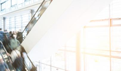 unrecognizable people at a escalator on a Exhibition- Stock Photo or Stock Video of rcfotostock | RC-Photo-Stock
