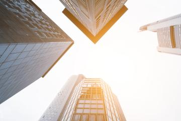 Up view in financial district in frankfurt- Stock Photo or Stock Video of rcfotostock | RC-Photo-Stock