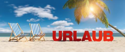 Urlaub (German for: vacation) concept with slogan on the beach with deckchairs, Palm tree and blue sky- Stock Photo or Stock Video of rcfotostock | RC-Photo-Stock