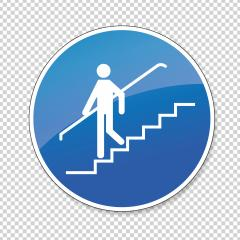 Use handrail. handrail must be used, mandatory sign or safety sign, on checked transparent background. Vector illustration. Eps 10 vector file.- Stock Photo or Stock Video of rcfotostock | RC-Photo-Stock