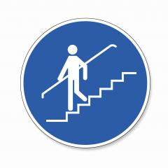 Use handrail. handrail must be used, mandatory sign or safety sign, on white background. Vector illustration. Eps 10 vector file. : Stock Photo or Stock Video Download rcfotostock photos, images and assets rcfotostock   RC-Photo-Stock.: