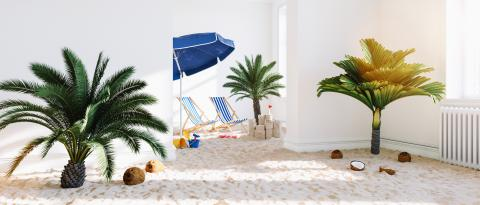 Vacation at home with the beach and palm trees and lounge chairs in the living room at Coronavirus Lockdown Infection Protection- Stock Photo or Stock Video of rcfotostock | RC-Photo-Stock