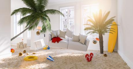Vacation at home with Zero Gravity Sofa hovering over the beach and palm trees in the living room at Coronavirus Lockdown- Stock Photo or Stock Video of rcfotostock | RC-Photo-Stock
