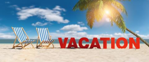 Vacation concept with slogan on the beach with deckchairs, Palm tree and blue sky- Stock Photo or Stock Video of rcfotostock | RC-Photo-Stock