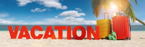 Vacation concept with slogan on the beach with Suitcase, Palm tree, flip-flops and blue sky- Stock Photo or Stock Video of rcfotostock | RC-Photo-Stock