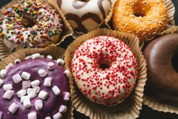 various glazed donuts, sweet food- Stock Photo or Stock Video of rcfotostock | RC-Photo-Stock