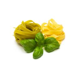 various pasta noodle nests with basil leaf- Stock Photo or Stock Video of rcfotostock | RC-Photo-Stock