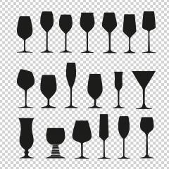Vector collection of black wine glasses silhouettes on checked transparent background. Vector illustration. Eps 10 vector file. : Stock Photo or Stock Video Download rcfotostock photos, images and assets rcfotostock | RC-Photo-Stock.: