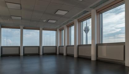 View from a office building of the TV tower in Dusseldorf- Stock Photo or Stock Video of rcfotostock | RC-Photo-Stock