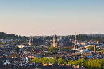 view of Aachen (aix-la-chapelle) at dusk  : Stock Photo or Stock Video Download rcfotostock photos, images and assets rcfotostock | RC-Photo-Stock.: