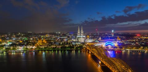 View of Cologne and the Cologne cathedral in the night- Stock Photo or Stock Video of rcfotostock | RC-Photo-Stock