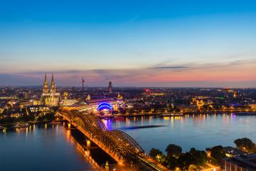 view of Cologne with Cologne Cathedral at sunset- Stock Photo or Stock Video of rcfotostock | RC-Photo-Stock