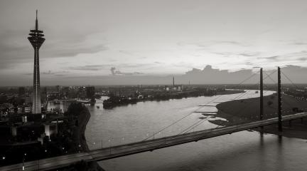 View of Dusseldorf at dusk in black and white colors- Stock Photo or Stock Video of rcfotostock | RC-Photo-Stock