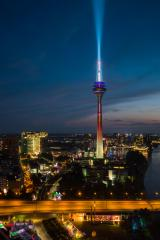 View of Dusseldorf at night with the illuminated rhine tower- Stock Photo or Stock Video of rcfotostock | RC-Photo-Stock