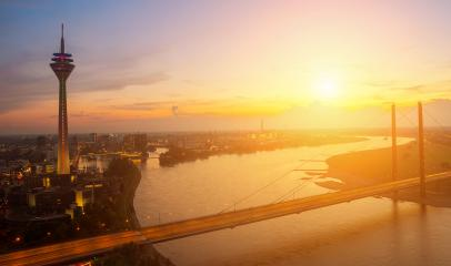 view of Dusseldorf at sunset time : Stock Photo or Stock Video Download rcfotostock photos, images and assets rcfotostock | RC-Photo-Stock.: