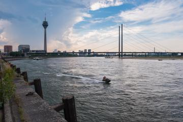 View of Dusseldorf at the Rhine river at a cloudy day, germany- Stock Photo or Stock Video of rcfotostock | RC-Photo-Stock